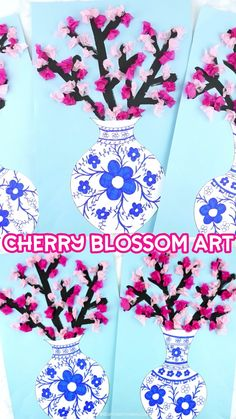 Simple and beautiful cherry blossom art project for kids of all ages. Design a Japanese art vase and fill it with colorful cherry blossoms. Easy spring craft for kids. For Kids How to Make a Cherry Blossom Art Project Paper Art Projects, Spring Art Projects, Easy Art Projects, Paper Crafts, Project Projects, Craft Projects For Kids, Wood Crafts, Kids Crafts, Spring Crafts For Kids