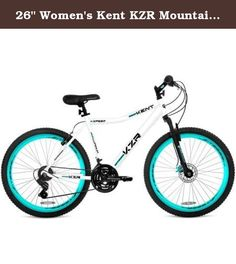 """26"""" Women's Kent KZR Mountain Bike, White/Teal, 21-speed Shimano drivetrain. The KZR from Kent bicycles is a no-nonsense hardtail mountain bike with all the features you need for street and trail. Custom oversized aluminum frame with a Vitesse telescoping suspension fork handles the bumpy stuff. Shimano provides the 21 speeds to get you up and down all the hills easily with light action twist shifting and sharp indexing derailleurs. When things get a little hairy, the KZR has all the..."""