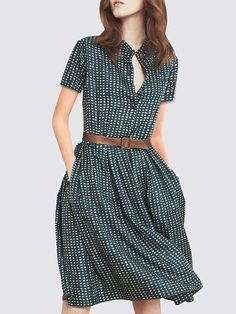 71f74bb23f2 Stylewe Sundress 1 Casual Dresses Daytime Shift Stand Collar Printed Short Sleeve  Casual Dresses