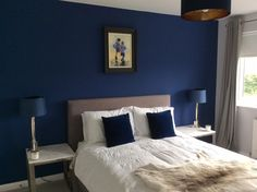 base (black): Drawing Room Blue by Farrow & Ball Home Decor Bedroom, Feature Wall Bedroom, Farrow And Ball Drawing Room Blue, Bedroom Design, Drawing Room Blue, Bedroom Paint Colors, Blue Bedroom Design, Bedroom Color Schemes, Room Decor