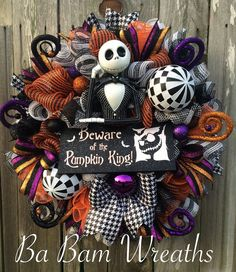 Original Jack Wreath Halloween Wreath Halloween by BaBamWreaths