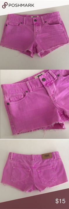 "PINK VS shorts VS PINK distressed fuchsia shorts. Size 0. Inseam measures 2.5"". Rise is 8"". Waistband is 30"". Five pockets total Manufactured with a semi faded/ distressed look. This is in EUC! 100% cotton.  🚫NO TRADES🚫 💲Reasonable offers accepted💲 💰Great bundle discounts💰 PINK Victoria's Secret Shorts Jean Shorts"