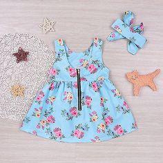 Verão crianças bebê meninas de princesa vestido de festa vestidos sem mangas Tutu Flor 0-4T