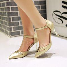 TBDress - TBDress Pointed Toe Plain Hollow Womens Sandals - AdoreWe.com