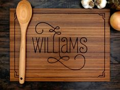 Personalized Wedding Gift, Custom Engraved Wood Cutting Board, Family Name With…