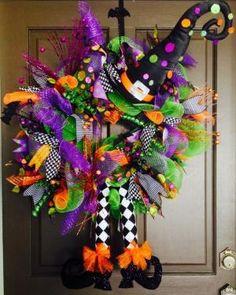 Fall Halloween Deco Mesh Witch Wreath!!!!! by darlene