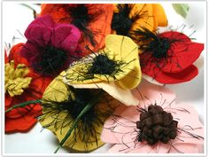 Color these AMAZING!  -- Colorful Felt Poppies at Limn and Lovely.