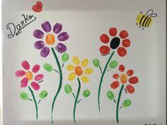 Abschiedsgeschenk für unsere Tagesmutter ❤️ Fingerabdruck Blumen