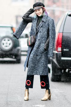 On Day 3 of Fashion Week, Showgoers Stayed Cozy in Color Coordinated Layers - Fashionista