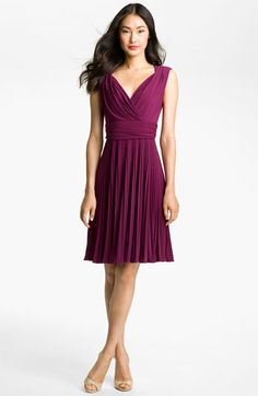 Ivy & Blu for Maggy Boutique Pleated Jersey Fit & Flare Dress $148 Color:  Acai (magenta)