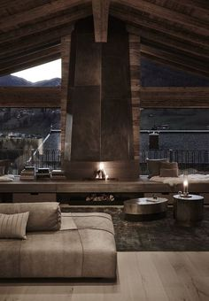 To stay a bit in the mood of the last days. A view on a stylish living room of a luxurious chalet. Ideal to pass your holidays. Chalet Interior, Home Interior Design, Interior Architecture, Chalet Design, Chalet Style, Homemade Wall Decorations, Casa Top, Wood Interiors, Modern House Design