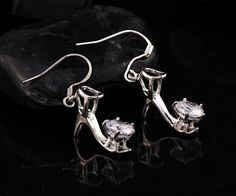 Unique Charming 925 Silver Gemstone Crystal High-Heeled Shoes Drop Earrings #New #DropDangle