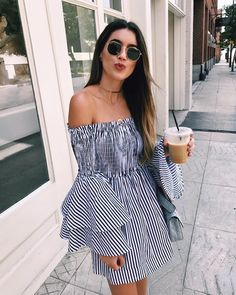 9e7d32214519 Pretty off the shoulder striped dress with cute ruffled sleeves. Ootd  Fashion