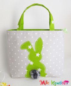 Sac cabas de Pâques lapin, étoiles et pois, gris et vert anis : Sacs enfants par mllekameleon