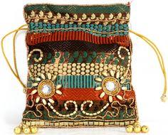 Brocaded Potli Bag with Beadwork by Hand