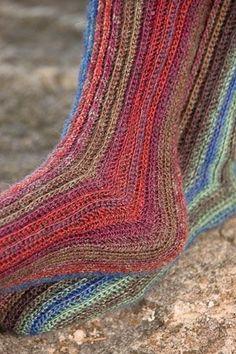 Sydney's Sideways Socks find pattern in magazine at this web address: http://www.interweavestore.com/Crochet/Magazines/Crochet-Accessories-2010.html