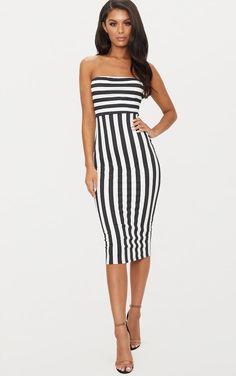 a539e5892c02 Black Contrast Stripe Bandeau Midi Dress Brunette Beauty, Going Out Dresses,  New Wardrobe,