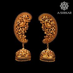 This handcrafted kaan-jhumka, made to complement an elaborate choker speaks in the unerring voice of that symbiotic partnership, that attachment which comes about when we love each other enough to know we must forever live with pride and respect for each other's differences and find our happiness in that, no matter what. #AnticGoldJewellery