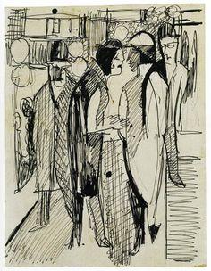"""ernstludwigkirchner: """"Straßenszene (1928) """""""
