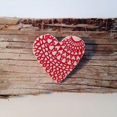 Handmade ceramic heart brooch £5.00