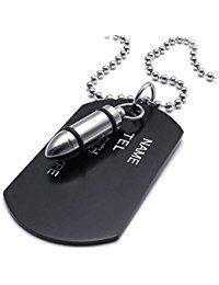 Collar militar - SODIAL(R) Collar de joyeria para hombre, colgante de pelota militar de manguitos extremos de patron del perro del estilo de etiquetas de ejercito con cadena de 68 cm, negro plata