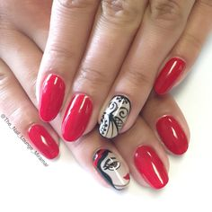 Disney's Snow White lace red nail art design