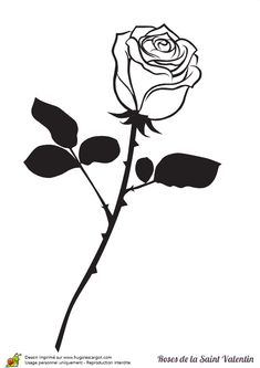 Coloring page of a stem with black leaves for Valentine's Day Valentine's Day is considered one among my favourite situations to share with my spouse and c Sketch Tattoo Design, Tattoo Designs, Rose Tattoos, Flower Tattoos, Rose Saint Valentin, Noir Tattoo, Black And White Art Drawing, Simpsons Tattoo, Rose Stencil