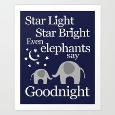 "Elephant theme baby boy nursery art. ""Goodnight Elephant"" nursery rhyme poem. Navy and grey."