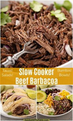 A Chipotle copycat, this Slow Cooker Beef Barbacoa is cooked slowly in a Crock Pot to a tender state creating the perfect shredded beef for your tacos or burrito bowls. Shredded Beef Tacos Crockpot, Mexican Shredded Beef, Crock Pot Tacos, Slow Cooked Beef, Crockpot Meals, Slow Cooker Barbacoa, Beef Barbacoa, Mexican Food Recipes, Beef Recipes