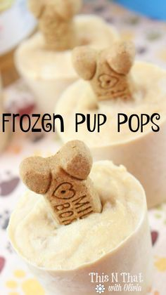 Frozen Pup Pops for your Furry Friends! Summer time is the perfect time to spend outdoors as a family. These Frozen Pup Pops are the perfect treat for your furry friends. Puppy Treats, Diy Dog Treats, Homemade Dog Treats, Healthy Dog Treats, Dog Biscuit Recipes, Dog Food Recipes, Recipes Dinner, Easy Dog Treat Recipes, Dog Ice Cream