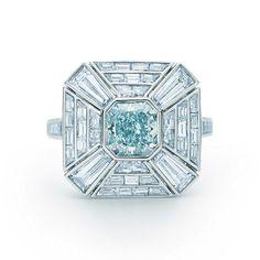 Fancy Greenish Blue Diamond Art Deco Ring in platinum with white diamonds.   Tiffany & Co.