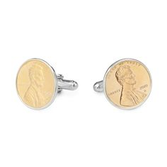 PENNY CUFFLINKS WITH PERSONALIZED YEAR | Sterling Silver, Penny, Cufflinks, Gifts for Men, Gifts for Teens, Unique, Coin, Coin Collector, Currency, Americana | UncommonGoods