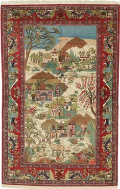 Persian Keshan pictorial rug,Iranian carpet.