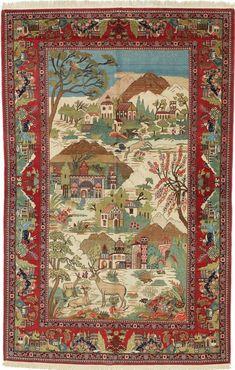 Persian Keshan pictorial rug