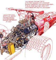 Illustrations: Freehand technical drawings by Peter Hutton - Motorsport Retro Technical Illustration, Car Illustration, Technical Drawings, Vintage Racing, Vintage Cars, Car Posters, Car Sketch, 3d Models, Car Drawings