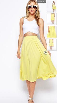 Yellow midi skirt white crop top summer fashion 2014