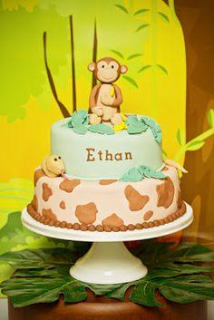Monkey Themed Jungle Birthday Party - Spaceships and Laser Beams Monkey Birthday Parties, Birthday Party Desserts, Safari Birthday Party, Baby Boy Birthday, Jungle Party, Jungle Cake, Animal Birthday, 5th Birthday, Birthday Ideas