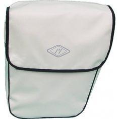 Coppia di borse bianche posteriori per bicicletta in pvc.
