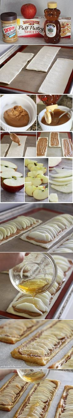 Honeyed Apple Peanut Butter Tart - Ingredients:      1 sheet Puff Pastry     1/2 Cup creamy peanut butter     6 tablespoons honey, warmed     2 apples, thinly sliced     2 tablespoons granulated sugar     Powdered sugar for dusting