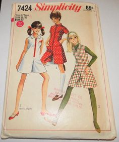 Simplicity 7424 Vintage 1960's Sewing Pattern Pantdress Young Junior Teen #1960s #ladies #pant-dress #simplicity #teen #vintage #patterns #sewing #retro #vintagestitching
