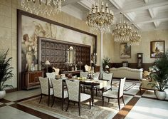General, Traditional Cream Gold Dining Room: Majestic Home Design By Muhammad Taher Traditional Interior, Classic Interior, Luxury Interior Design, Best Interior, Traditional Design, Traditional Decorating, Interior Designing, Elegant Dining Room, Beautiful Dining Rooms