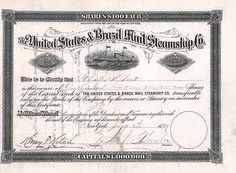 United States & Brazil Mail Steamship Co. 100 shares à 100 $ 26.8.1891.
