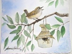 So cute. Nature art watercolor of a woodland bird making a home in a new birdhouse is original painting by Laurie Rohner.  The  sky is blue and spring is in the air. There is a wren sitting on  tree branches surrounding a twig birdhouse.  This painting inspired from my nature box design is a  wonderful addition to new baby nurseries or a whimsical addition to  home decorated with farmhouse cottage or loft themed items. This is Not a  Print.  Palette:earth brown,ultramarine blue, cobalt blue…