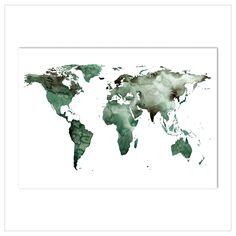 """Kunstdruck / Poster """"Weltkarte"""" · Aquarell auf hochwertigem Kunstdruckpapier · In verschiedenen Größen bestellen bei Leo la Douce"""