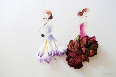 .siluetas vestidas con flores