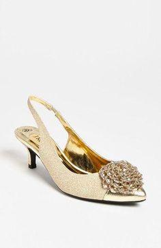 90feb075132 Gold Weddings    Gold Low Heel Shoes