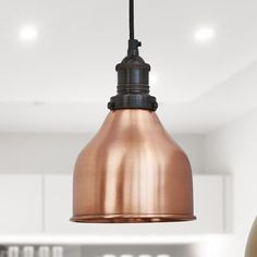 Brooklyn Vintage Small Metal Cone Pendant Light - Copper - 7 inch