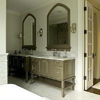 Cynthia Lynn Photography - bathrooms - marble, herringbone, pattern, tiles, floor, marble, subway tiles, backsplash, taupe, single, bathroom...