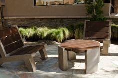 #wooden #patio #table #bench