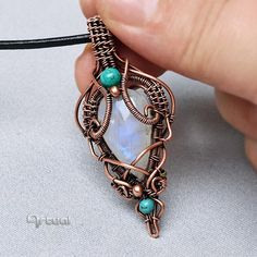 Wire wrapped jewelry Moonstone pendant wire jewellery